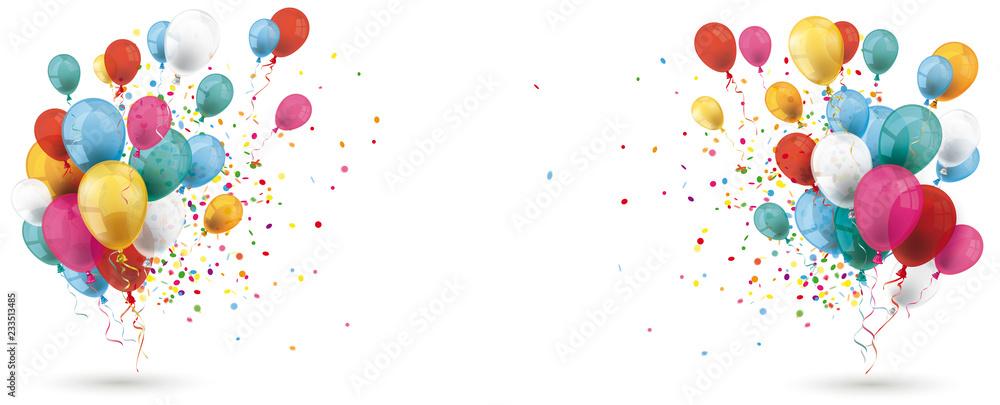 Fototapeta Colored Balloons Confetti Explosion Header