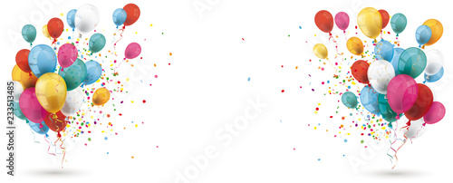 Fotografie, Obraz Colored Balloons Confetti Explosion Header