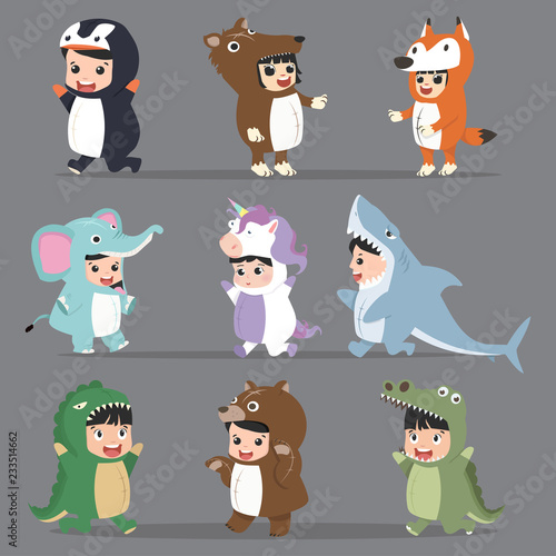 Cuadros en Lienzo kid characters in Animals costumes Set