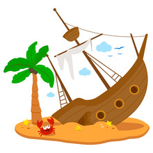 A Broken Ship On A Deserted Island With A Palm Tree And A Crab. Vector Illustration