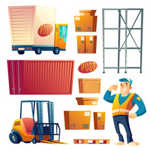 Delivery Or Postal Service Cartoon Vector Icons Set Isolated On White Background. Logistics, Shipping Company Worker, Warehouse Equipment, Loading Machine, Cargo Car And Various Containers Collection