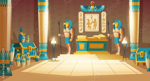 Obraz na płótnie Vector cartoon pharaoh tomb with golden sarcophagus, statues of gods with animal heads, columns, symbols and hieroglyphics on wall
