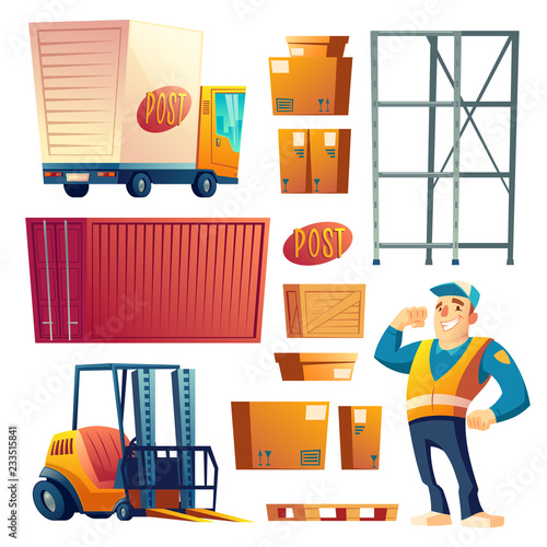 Delivery Or Postal Service Cartoon Vector Icons Set Isolated On