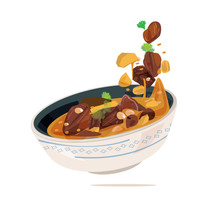 Massaman Curyy Served In Bowl. Traditional Thai Food Concept. Creative Position - Vector