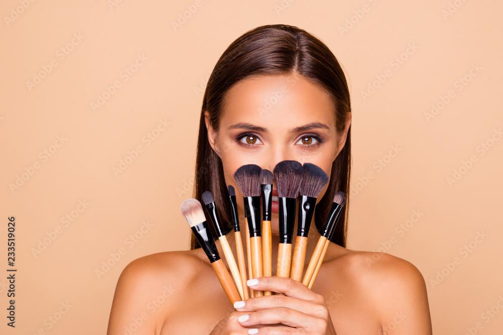 Fototapeta Close up portrait of brunette hair leisure lifestyle good-lookin