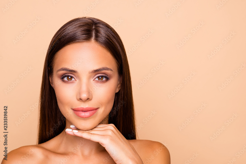 Fototapety, obrazy: Brown-haired charming well-groomed dreamy leisure lifestyle lady
