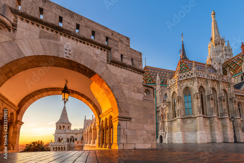 Canvas Prints Budapest Budapest, Hungary - Entrance of Buda District with the beautiful Matthias Church at golden sunrise and clear blue sky