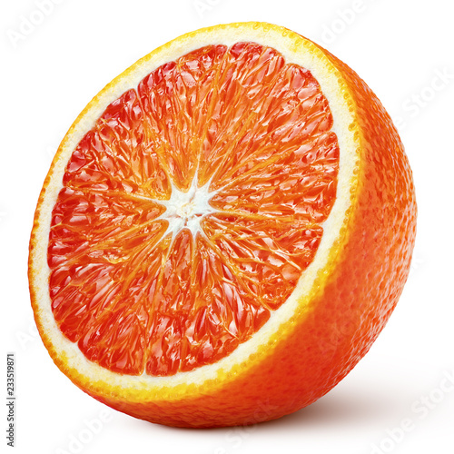 Ripe half of blood red orange citrus fruit isolated on white background with clipping path. Full depth of field.