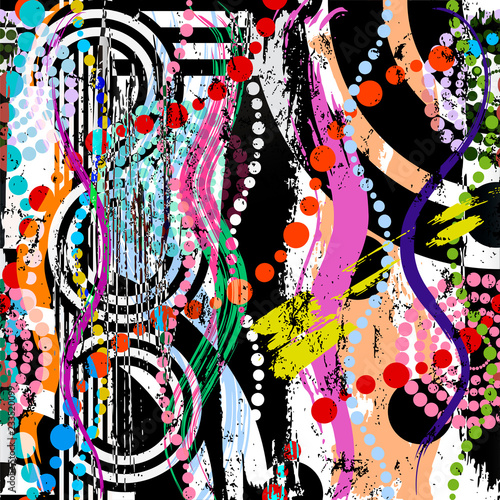 abstract pattern background, with circles, waves, paint strokes and splashes
