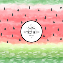 Vector Seamless Background. Hand Drawing Watercolor Watermelon With Seeds And Peel.