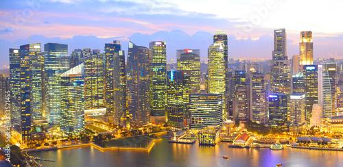 In de dag Aziatische Plekken Twilight Singapore panoramic aerial view