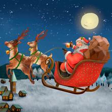 Hand Drawn Santa Claus Riding ...