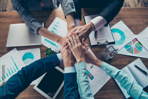 Fototapety, obrazy: Cropped top above high angle view of hands four stylish elegant