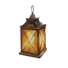 Handdrawn Watercolor Illustration Isolated On White Background. Beautiful Brown Square Glowing Christmas Lantern.
