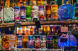 Vienna, Austria - December 24, 2017. Christmas Color Jelly Glass Gel Candle in kiosk at Viennese Christmas market. Close view of Xmas fair stall selling handmade craft souvenirs and gifts.