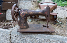 Retro Rusted Sewing Machine An...