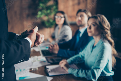 Fototapeta  Cropped close-up hands of executive manager stylish elegant clas