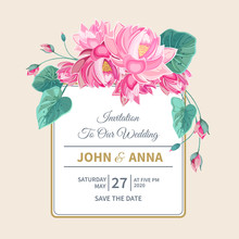 Wedding Invitation With Pink Lotus Flowers And Frame