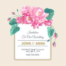 Wedding Invitation With Pink L...