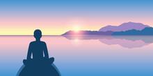 Person Enjoy The Silence On A Calm Sea At Sunrise Vector Illustration EPS10