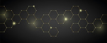 Gold Technical Honeycomb Background Digital Electronics Vector Illustration EPS10