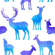 Blue Deer Seamless Pattern