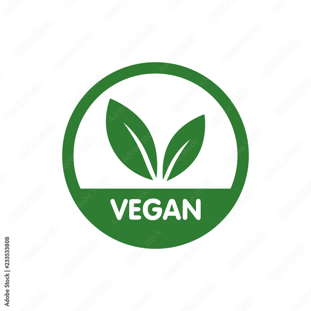 Fototapety, obrazy: Vegan Bio, Ecology, Organic logo and icon, label, tag. Green leaf icon on white background