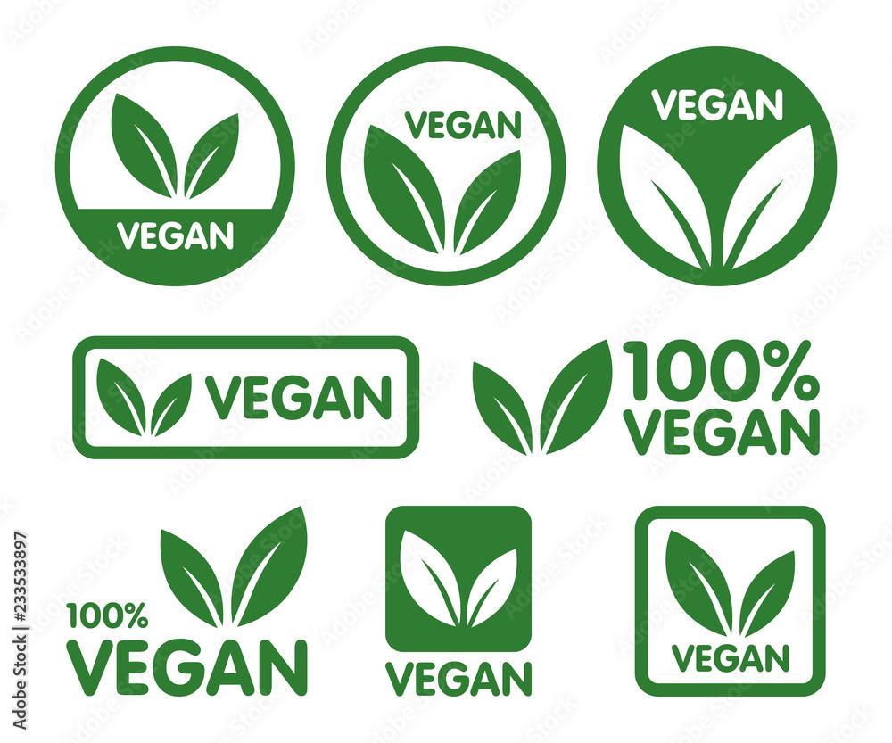 Fototapety, obrazy: Vegan icon set. Bio, Ecology, Organic logos and icon, label, tag. Green leaf icon on white background.
