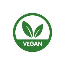 Vegan Bio, Ecology, Organic Logo And Icon, Label, Tag. Green Leaf Icon On White Background