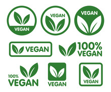 Vegan Icon Set. Bio, Ecology, ...