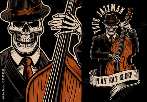 Vector illustration of skeleton with double bass Tablou Canvas