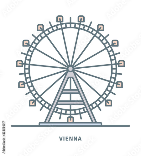 fototapeta na drzwi i meble Prater Ferris Wheel at Vienna icon