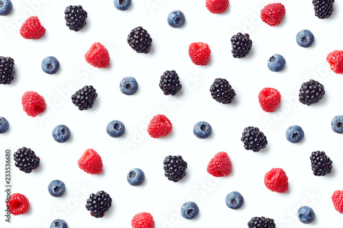 Obraz Fruit pattern of colorful wild berries - fototapety do salonu