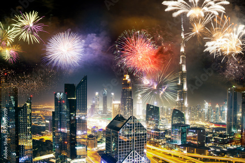 Canvas Print fireworks around Burj Khalifa - exotic New Year destination, Dubai, UAE