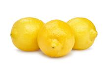 Three Fresh Lemons On White Background