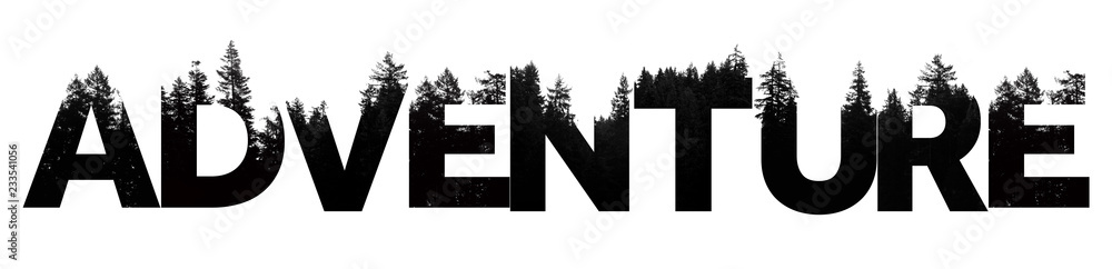 Fototapeta Adventure word made from outdoor wilderness treetop lettering