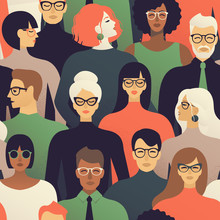 Seamless Pattern Of Many Different People Profile Heads. Vector Background.