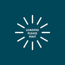 Loading Icon In Blue And White Colors With Loading Please Wait Text.