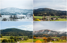 Four Seasons Of Year In European Climate In Southern Germany As Nature Concept - Snowy Winter, Blooming Spring, Rich Summer, Colorful Autumn. Collage With Same View To Landscape With Mountains, Fields