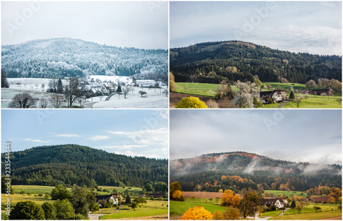 Fotografie, Obraz  Four seasons of year in european climate in southern Germany as nature concept - snowy winter, blooming spring, rich summer, colorful autumn