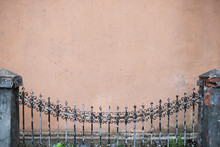 Mockup Background Of Old Wall With Fence