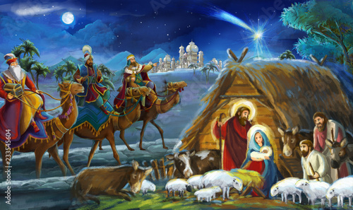 Foto religious illustration three kings - and holy family - traditional scene - illus