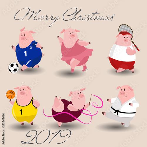 Foto op Plexiglas Hemel Sport Vector Piggy symbol 2019. Cartoon illustration for Christmas card, prints, calendar, sticker, invitation, baby shower, children clothes, poster