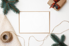 Christmas Decorations, Knitted Scarf, Pine Bench, Twine, Craft Envelope, Blank Greeting Card With Copy Space For Your Text. Xmas Composition For Your Banner Or Postcard. Flat Lay, Overhead, Top View