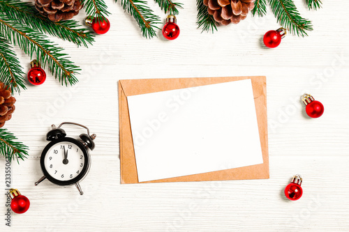 festive flat lay composition with blank invitation for new year celebration
