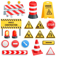 Road Barrier Vector Street Traffic-barrier Under Construction Warning Barricade Blocks On Highway Illustration Set Of Roadblock Detour And Blocked Roadwork Barrier Isolated On White Background