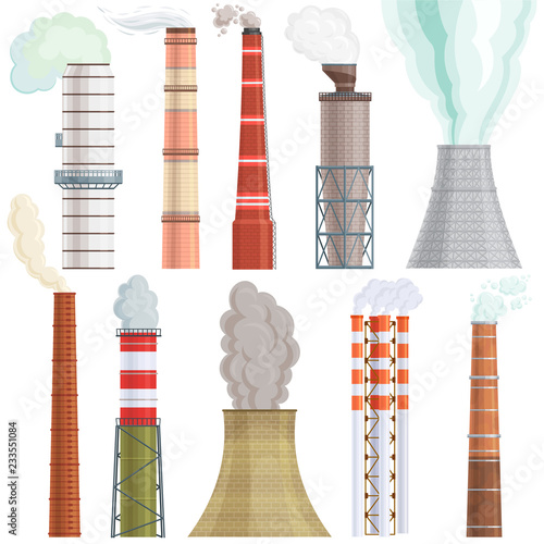 Fotomural Industry factory vector industrial chimney pollution with smoke in environment i