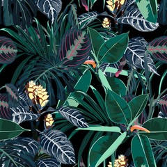 Obraz na SzkleHawaii print seamless pattern. Beautiful artistic summer tropical print with exotic forest plants. Dark navy blue.