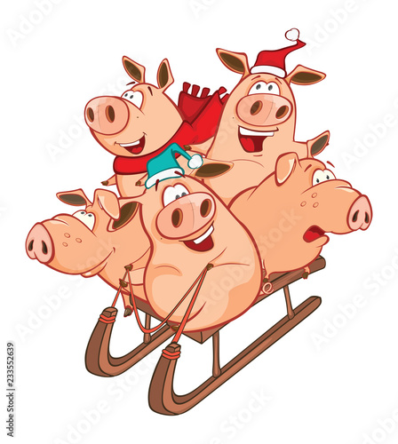 Vector Illustration of a Funny Piglets on a Sled. Cartoon Character
