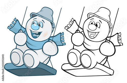 llustration of a Cute Snowman Cartoon Character. Coloring Book